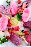 Zusammenstellung von Berry Popsicles mit tadellosen Blättern auf Eis-Würfeln Stockfotos