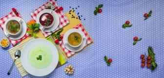 Zusammenstellung von drei Suppen und von Borscht Lizenzfreies Stockbild