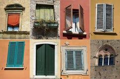 Zusammenstellung von Fenstern und von Fensterläden Stockbild