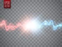 Zusammenstoß von zwei Kräften mit Rot und Blaulicht Vektor gegen Konzept stock abbildung