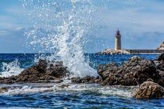 Zusammenstoßende Wellen, Hafen Andratx, Mallorca, Spanien Lizenzfreie Stockbilder