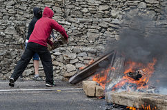 Zusammentreffen zwischen Bergmännern und Antiaufstandpolizei Stockbild