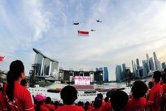 Zuschauer, die an der Aufmerksamkeit als die Staatsflaggeluftparade während stehen Wiederholung 2013 der Nationaltag-Parade-(NDP) Stockbild