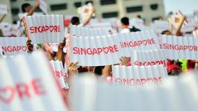 Zuschauer, die Singapur-Fahnen während wellenartig bewegen Wiederholung 2013 der Nationaltag-Parade-(NDP) Lizenzfreie Stockfotos