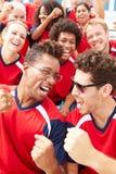 Zuschauer in Team Colors Watching Sports Event Lizenzfreies Stockfoto