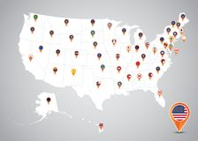 Zustände und Hauptflaggen-Standort-Ikonen-Karte von Vereinigten Staaten stockbild