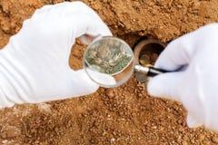 Zustände von alten Münzen verwischt Stockfotografie