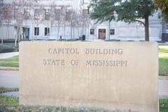 Zustand des Hauptstadt Gebäude-Zeichens Mississippis Stockfotografie