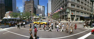 Zustand-Straße mit Borduhr des Marshall-Feldes Stockfoto