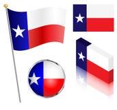 Zustand von Texas Flag Set Lizenzfreie Stockbilder