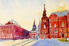 Zustands-historisches Museum auf Rotem Platz in Moskau, Russland stockbild