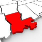 Zustands-Karte Vereinigte Staaten Amerika Louisianas rote Zusammenfassungs-3D Stockfotos