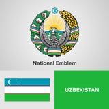 Zustandsemblem und Flagge von Usbekistan Stockfotografie