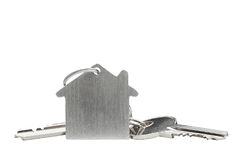 Zustandskonzept, Schlüsselring und Schlüssel auf lokalisiertem Hintergrund Stockbilder