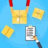 Zustelldienst-Paket-Kasten, der Kurier empfängt Lizenzfreie Stockbilder
