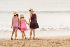 3 zusters bevinden zich op beachfront die de oceaan onder ogen zien Royalty-vrije Stock Foto
