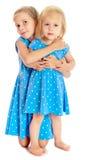 Zusters in blauwe kleding Royalty-vrije Stock Foto's