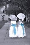 Zusters die een Sprookjesland van de Tuin delen Royalty-vrije Stock Foto