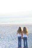 Zusters die handen op de strandverticaal houden stock foto's
