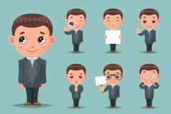 Zustimmungszeichentrickfilm-figur-Bühnenbild-Vektorillustration des netten Geschäftsmannmaskottchens glückliche Stütz Lizenzfreie Stockbilder