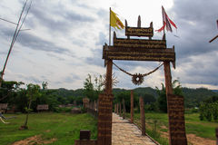 Zutongpae Bridge. Backpack nasaphan created by the force of faith, Buddhism of Thailand Mae Hong taught country Royalty Free Stock Images