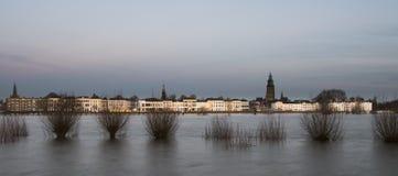 Zutphen IJssel Flood and Twilight Royalty Free Stock Photo
