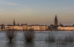 Zutphen IJssel Flood and Sunset royalty free stock photo