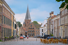 ZUTPHEN, NETHERLANDS - JULY 15, 2016: View on the marketsquare. Zaadmarkt with Drogenapstower in the background royalty free stock photo