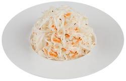Zuurkool in witte plaat Stock Foto's