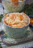 Zuurkool of zure kool in rustieke stijl Russische keuken Stock Fotografie