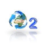 Zuurstof, O2, Concept Eco. Bol met kringlooppijlen Royalty-vrije Stock Foto's