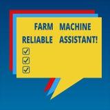 Zuverlässiger Assistent der Handschriftstext landwirtschaftlichen Maschine Konzept, das ländlichen Stapel Industrie der Landwirts stock abbildung