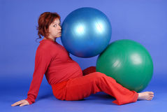 Zuzana with balls. Exercise with balls in late pregnancy Royalty Free Stock Image