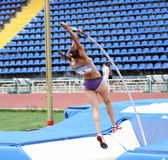 Zuzina Olga competes in pole vault competition Stock Images