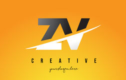ZV Z V Letter Modern Logo Design with Yellow Background and Swoo Royalty Free Stock Photo