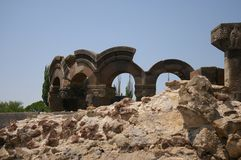 Zvartnots Cathedral. Ruin. Column. Armenia royalty free stock photos