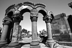 Zvartnots Ruins. In Armenia, outside Yerevan, near the airport royalty free stock images