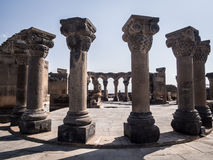 Zvartnots. Ruins of the Zvartnots Cathedral in Armenia. Zvartnots was built in the 7th-century and it was added to the UNESCO World Heritage list in 2000 stock image