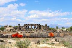 Zvartnots tempel arkivfoton