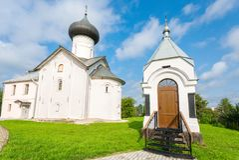 Zverin Pokrovsky Monastery in Veliky Novgorod, Russia. Russian orthodox church Royalty Free Stock Images