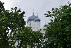 前Zverin-Pokrovsky俄罗斯正教会的修道院女修道院在Veliky诺夫哥罗德州 图库摄影
