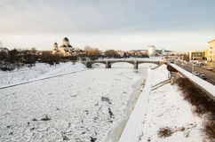 Zverynas Bridge and Znamenskaya Orthodox Church in Vilnius, Lithuania Stock Photo