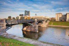 Zveryno桥梁在维尔纽斯 库存图片