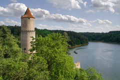 Zvikov castle. Boat cruise in the river Royalty Free Stock Images