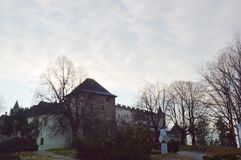 Zvolen castle in winter stock photography
