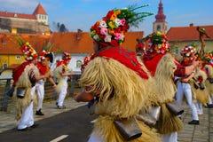 Zvončari Carnival Mask. Croatian ethnographic carnival mask zvončari in carnival parade (Kurentovanje) in Ptuj, Slovenia royalty free stock photos