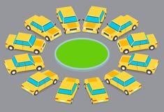Zwölf identische Autos geparkt in einem Kreis Lizenzfreie Abbildung