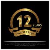 Zwölf Jahre Jahrestag golden Jahrestagsschablonenentwurf für Netz, Spiel, kreatives Plakat, Broschüre, Broschüre, Flieger, Zeitsc lizenzfreie abbildung