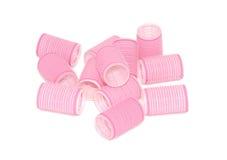 Zwölf rosafarbene Flauschrollen in einem Stapel Lizenzfreie Stockfotografie