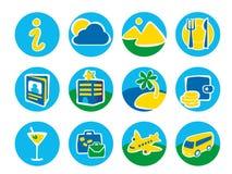 Zwölf runde Ikonen für eine Reise Lizenzfreies Stockbild